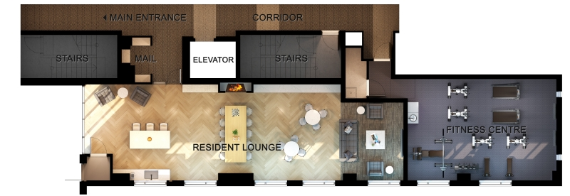 First floor amenity space including fitness centre, resident lounge, entertainment kitchen & dining area